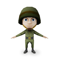 Game Ready Cartoon Style 3D Model of Small Soldier in Helmet.