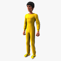 Toon Bruce Lee in Yellow Jumpsuit