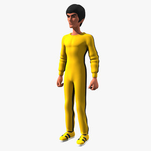 cartoon bruce lee yellow 3d model