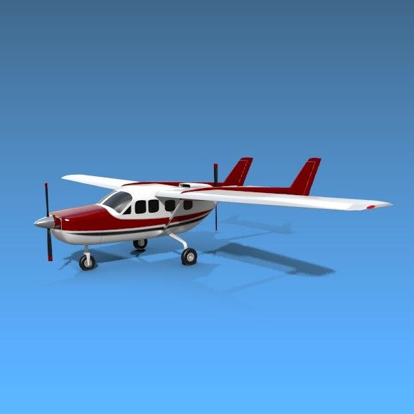 3d cessna skymaster aircraft
