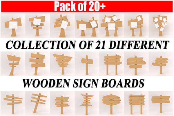 3d model set wooden board pack