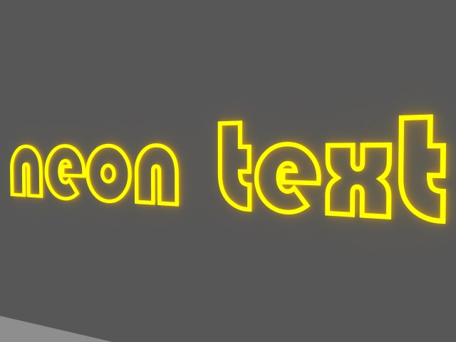 3d neon text light model