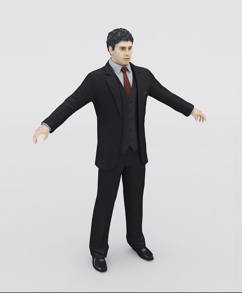 realistic man suit 3d model