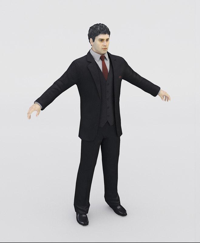 realistic man suit 3d model