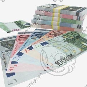 euro banknotes - 5€ 3d obj