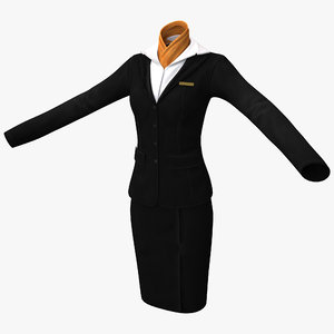 female flight attendant clothes 3d model