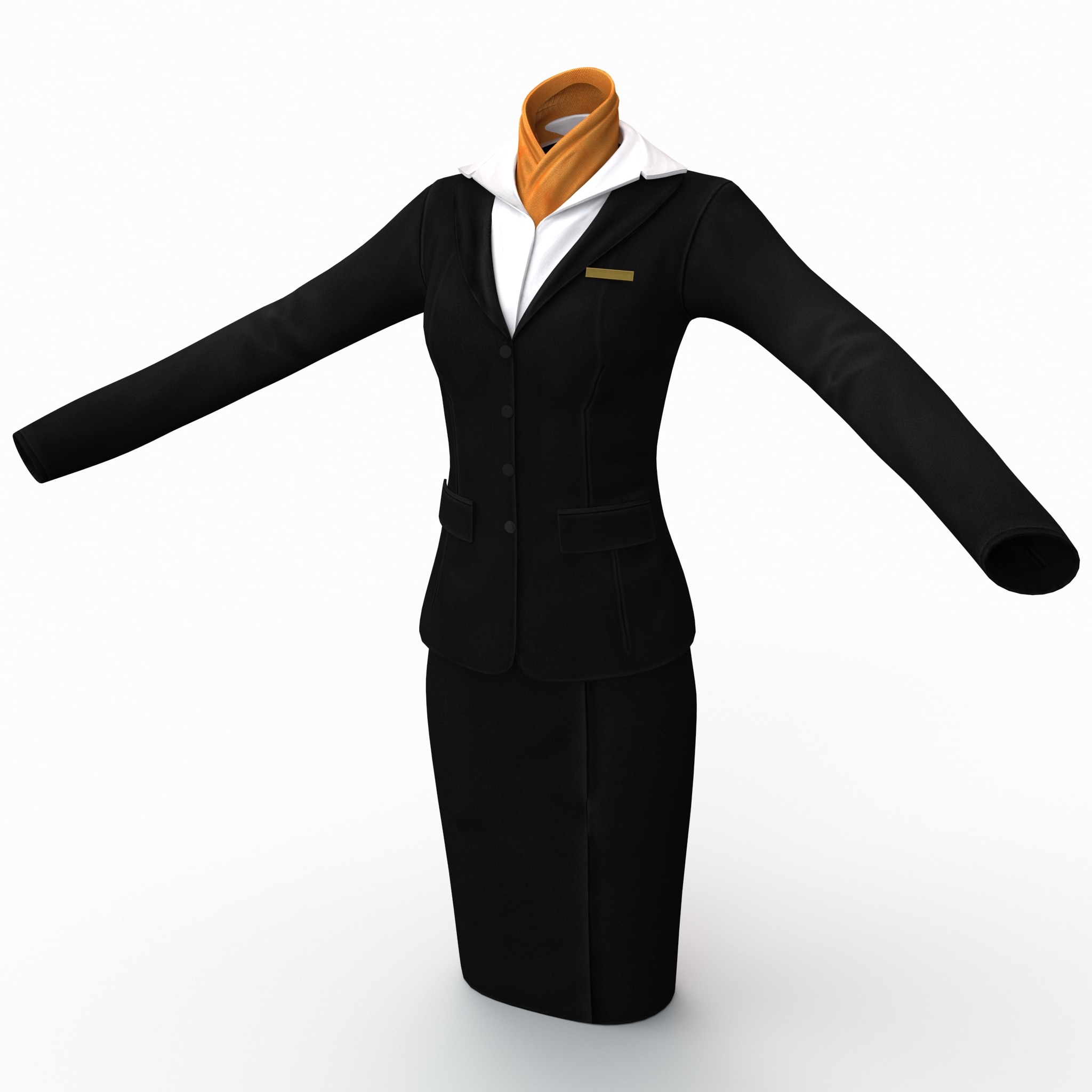 female flight attendant clothes 3d model