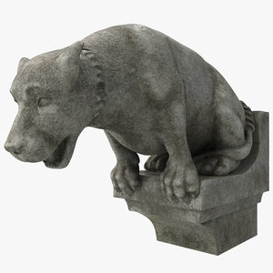 3d model gargoyle dog statue