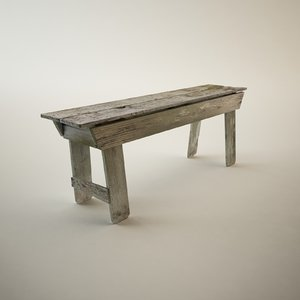 antique bench obj