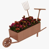 3d wheelbarrow flower model