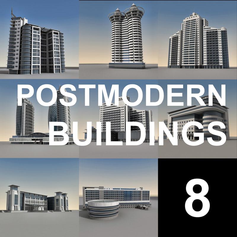 modern buildings obj