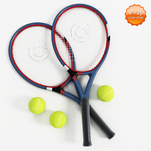 3d tennis rackets balls