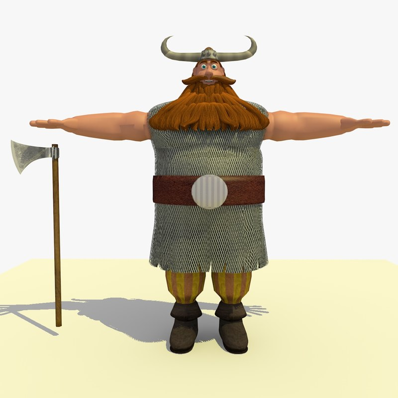 jake medieval viking cartoon 3d model