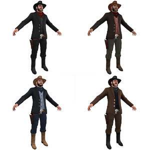 3d model pack cowboy man