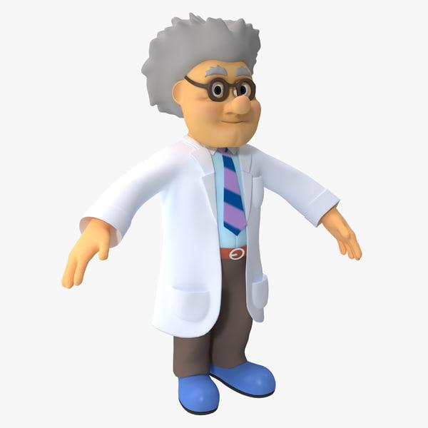 3d cartoon scientist rigged model
