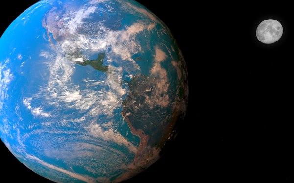 3d realistic earth moon sun