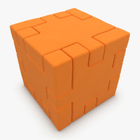 3d model realistic happy cube orange