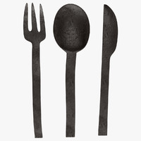 3d model antique cutlery
