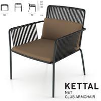 3d kettal net club armchair model