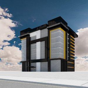3d model skyscraper streetlights street