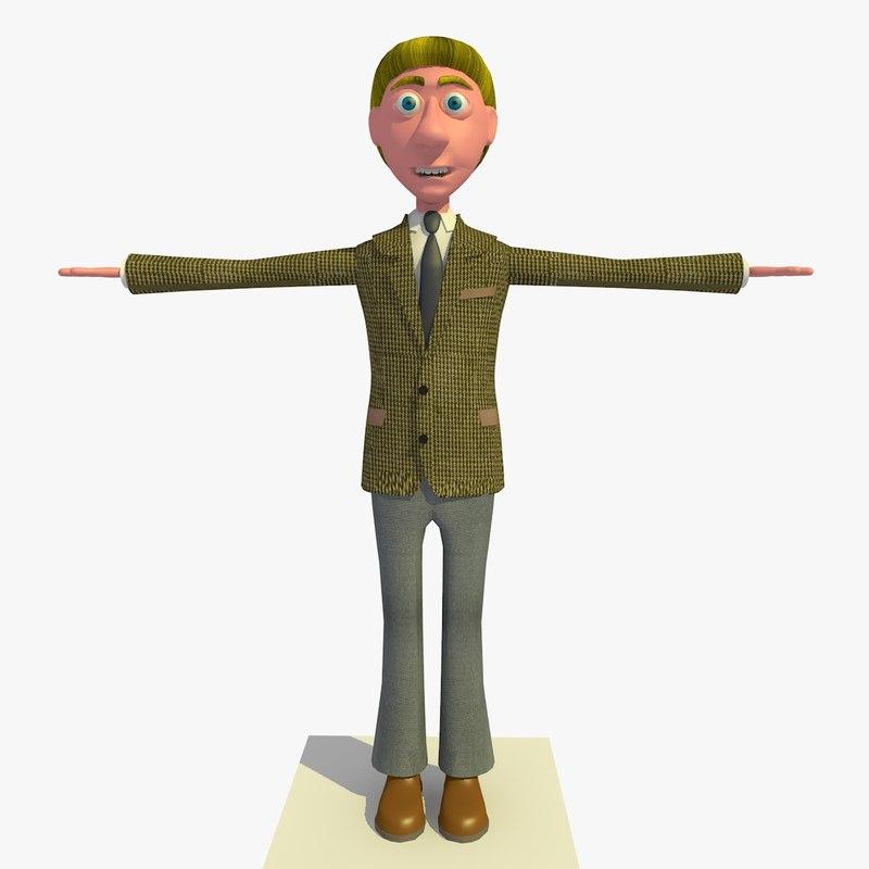 vincent business man cartoon character c4d