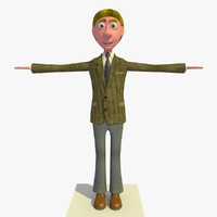 vincent business man cartoon character c4d