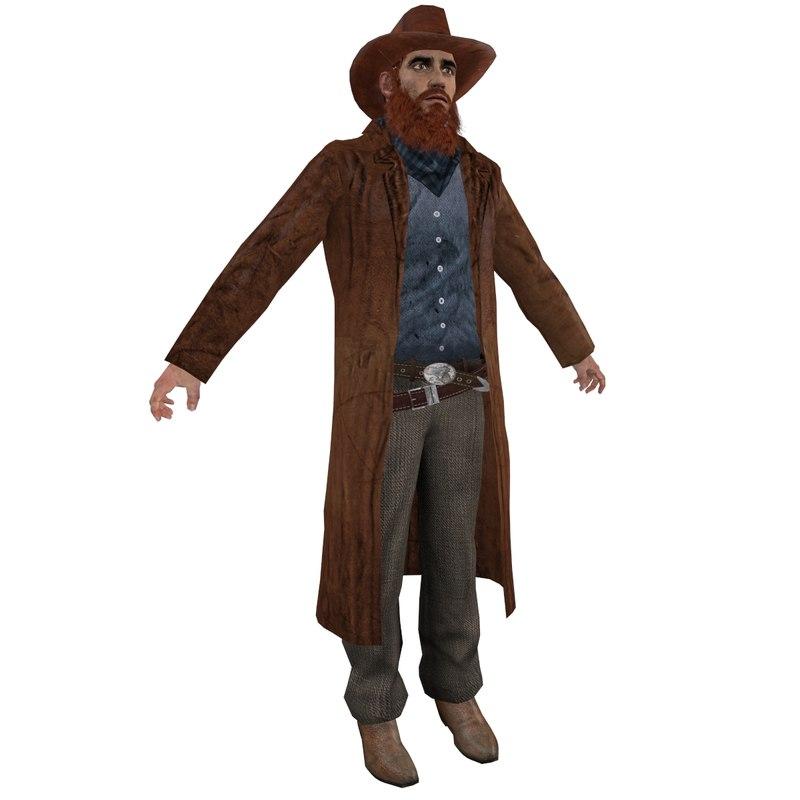 3d wild west cowboy model