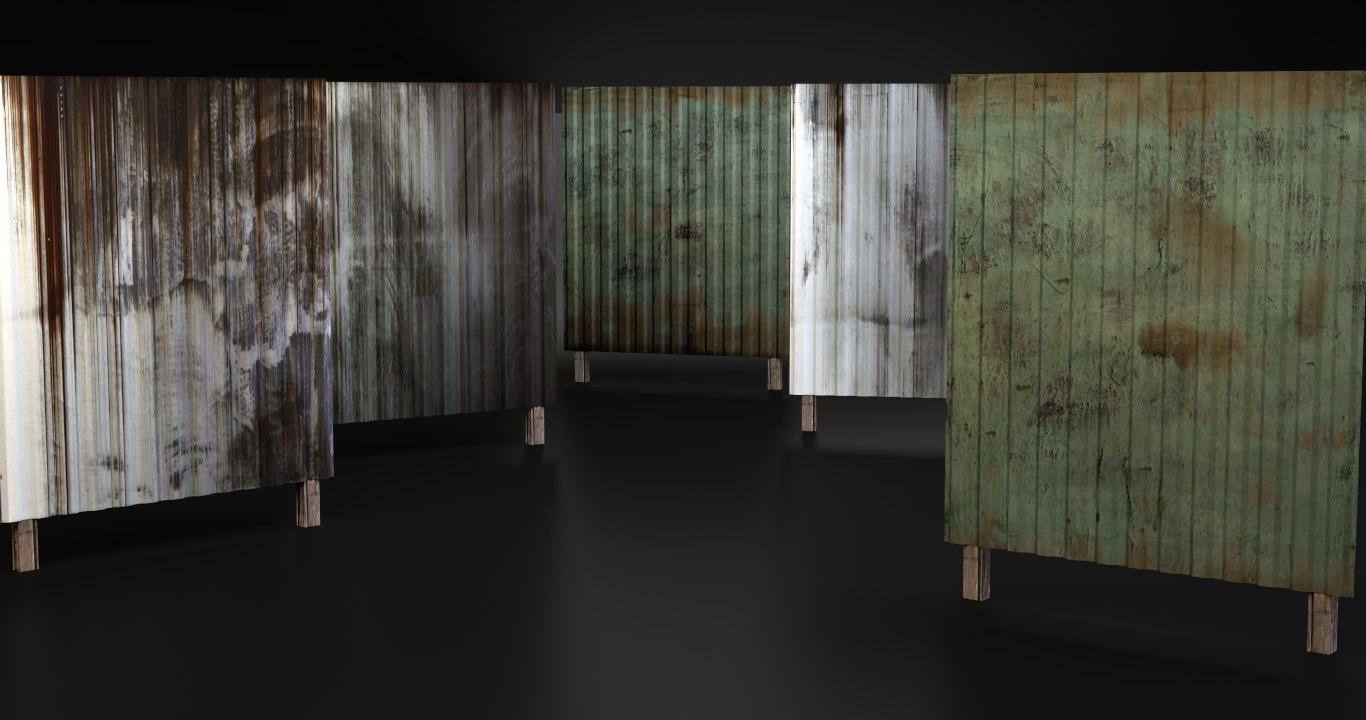 corrugated metal fence 3d model