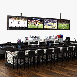 3d model bar scene