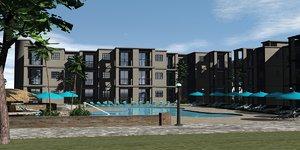 3d model hotel scenery
