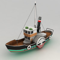 paddle steamer boat 3d model