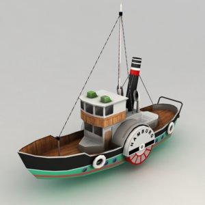 paddle steamer boat 3d model