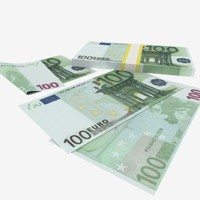 3d 100 one-hundred euro banknote model