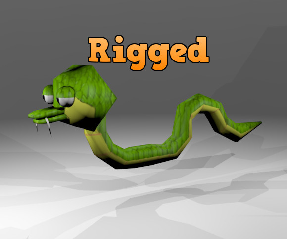 rigged monster snake 3d model