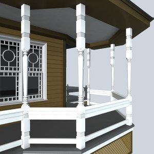 decorative porch post 3d model