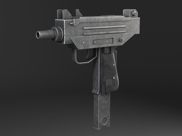 3d machine gun submachine model