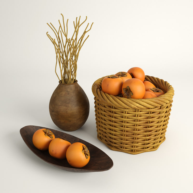 3d model persimmon fruit bowl