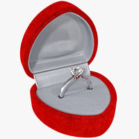 Diamond Ring in Red Velvet Textured Box