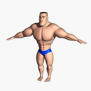 bodybuilder cartoon character rigged 3d max
