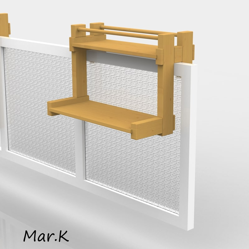 3d model hanging balcony table