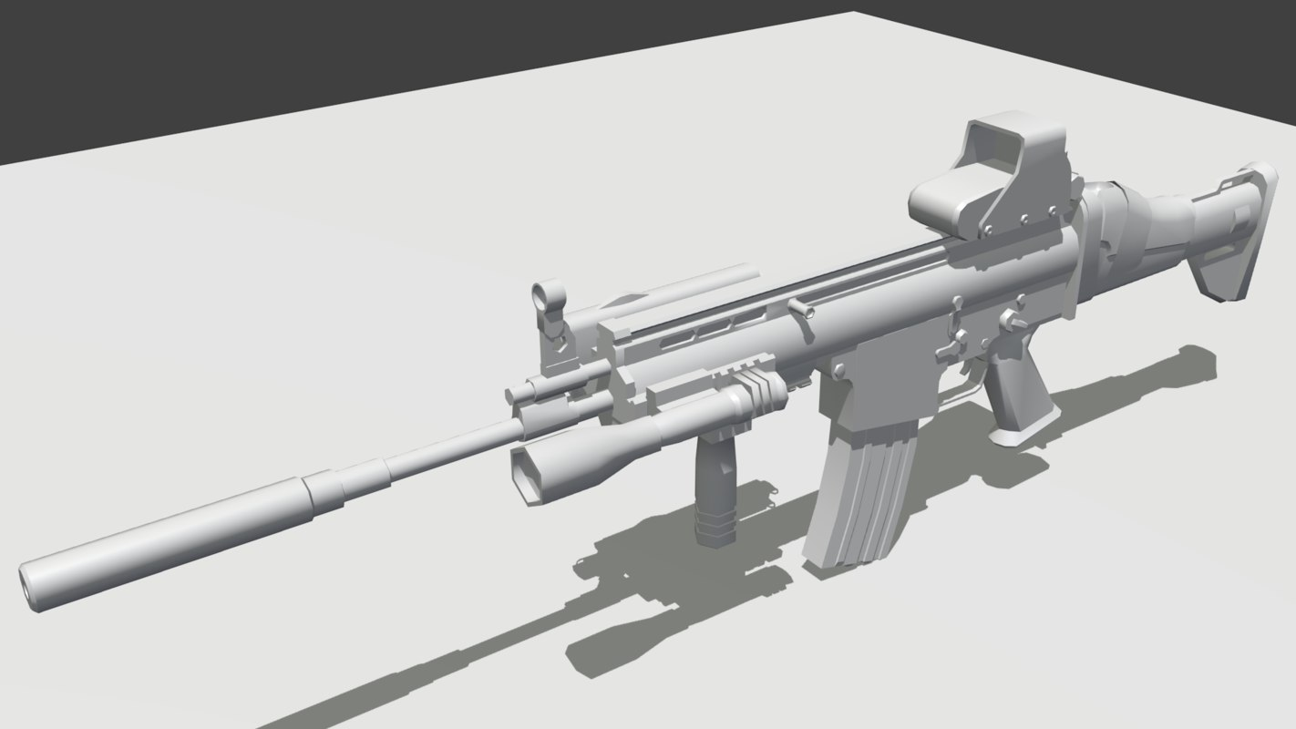 scar-l rifle gun 3d model