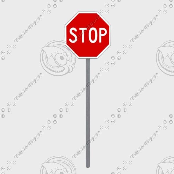 stop vertical road signal 3d model