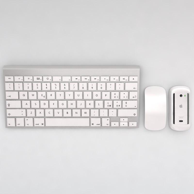 3d model of mac keyboard mouse