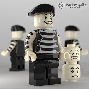 3d model lego mime figure