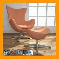 egg chair ottoman 3d model