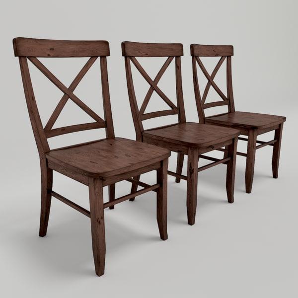 set cross-back chairs 3d model