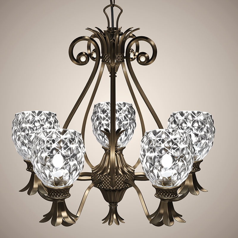 classic chandelier lights 3d max