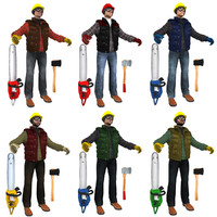3d model lumberjack workers pack man