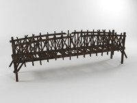3d old wooden bridge broken model