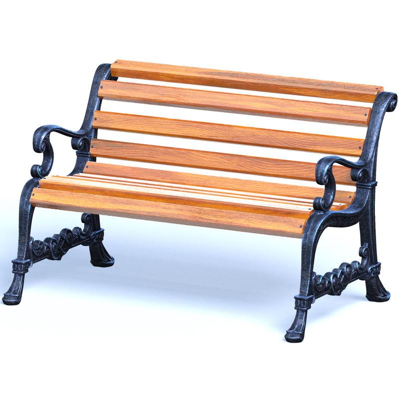 park bench 3d c4d